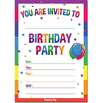 Birthday Invitations With Envelopes 15 Pack
