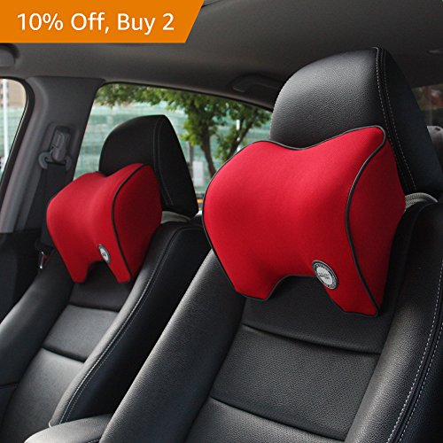 Car Neck Support Pillow for Driving, Car Seat Headrest Pillow with Soft Memory Foam (Red) by ComfyWay (Image #4)