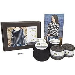 DesignEtte Knitting Kit, Rural Landscape, Pure Linen Plus Pure Egyptian Cotton, M, Dark Grey/Black by DesignEtte