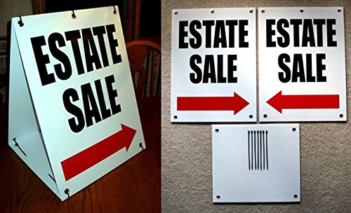 1-Set Monumental Unique Estate Sale with Arrow Sign Store Message 2-Sided Kit Plastic Coroplast Retail Banner Outdoor Banners Home Holder Post Real Signs Clearance Price Size 18