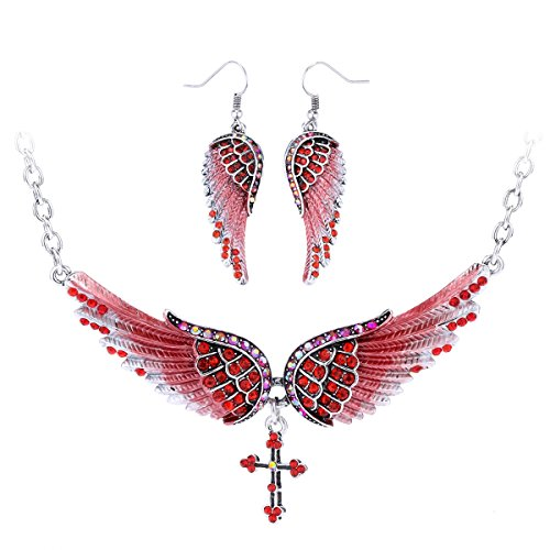 (Szxc Jewelry Women's Crystal Wings Cross Necklaces Earrings Jewelry Sets Biker Jewelry)