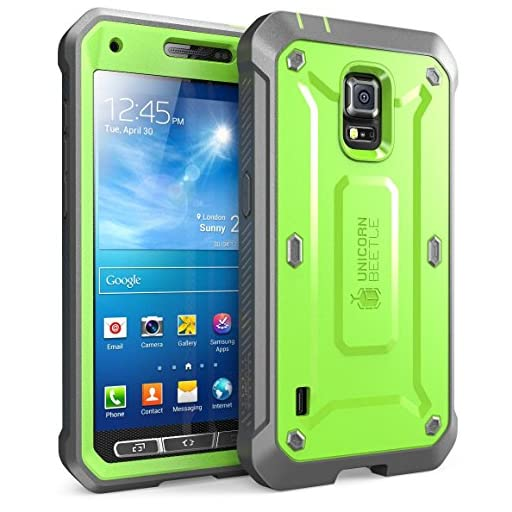 Galaxy S5 Case, SUPCASE [Heavy Duty] [Unicorn Beetle Pro Series] Full-body Rugged Case with Built-In Screen Protector for Samsung Galaxy S5 Case, Dual Layer Design Impact Resistant Bumper (Green/Gray)