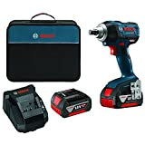 "Bosch IWMH182-01 18V Brushless Impact Wrench with 1/2"" Square Drive, 2 Batteries, Charger, and Carry Bag"