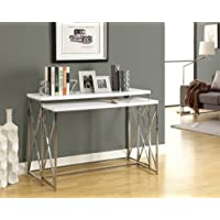 CONSOLE TABLE - 2PCS / GLOSSY WHITE WITH CHROME METAL