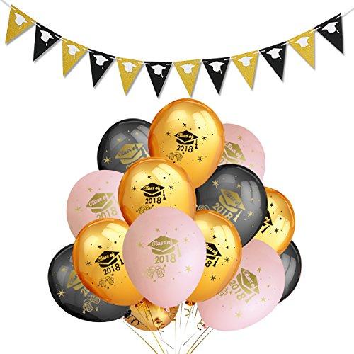 Graduation Party Decoration,30Pcs Graduation Balloons and 1Pcs Graduation Cap Garland -Graduation Wedding Grad Party Decoration -