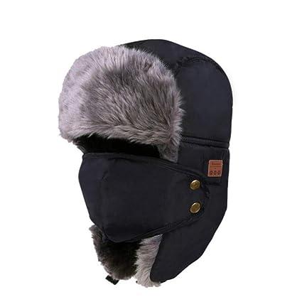 4dd482fd04994 Tectom Winter Bluetooth Headphone Hat Unisex Beanie Hat Mask Type Warm Snow  Cap Smart Wireless Hunting