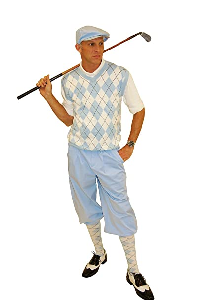 Men's Vintage Style Pants, Trousers, Jeans, Overalls Carolina Blue Knickers Sweater and Socks and Cap $139.00 AT vintagedancer.com