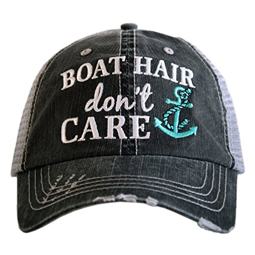 Boat Hair Don't Care Women's Distressed Grey Trucker Hat (Mint Anchor) ()