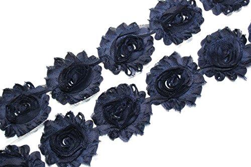 (28 pieces) JLIKA Navy Shabby Chiffon Fabric Flowers 2.5