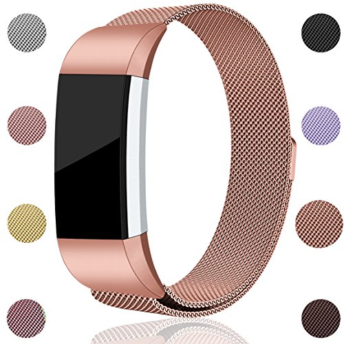 For Fitbit Charge 2 Bands, Maledan Stainless Steel Milanese Loop Metal Replacement Accessories Bracelet Strap with Unique Magnet Lock for Fitbit Charge 2 HR Rose Gold Small