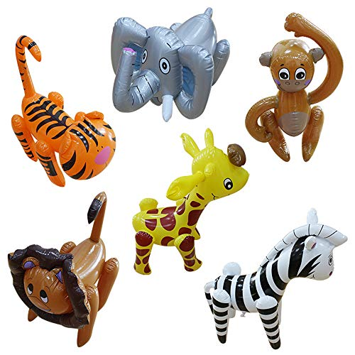 Inflatable Zoo Animals, Party Guests Jungle Safari,Party Decorations,Tiger/Lion/Elephant/Monkey/Zebra/giraffe(6 - Heavy Vinyl Message Duty