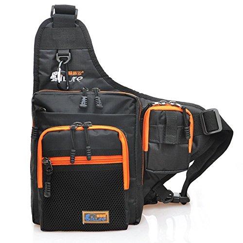 Fishing Tackle Bag Sports Shoulder Bag Storage Backpack Yoker Lure bait Storage Bags Shoulder Bag Crossbody Bag Messenger Bag (Black)