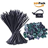 NOUVCOO 250pcs Self-locking Zip Ties Black 10 inches & 100pcs Self-adhesive Cable Tie Mounts Black 0.9x0.9 inch with Screw Holes for Home Office Garden Garage and Workshop NV03