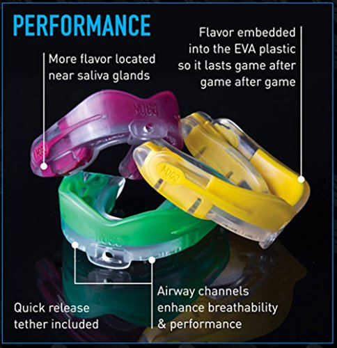MOGO. Flavored 2 Pack Mouth Guards - Adult Sports Mouthguard for Ages 11 and Up - Mouthpiece for MMA, Football and Lacrosse - Tether Strap, Fitting Instructions and Carry Case (Strawberry Lemonade) by MOGO. (Image #2)