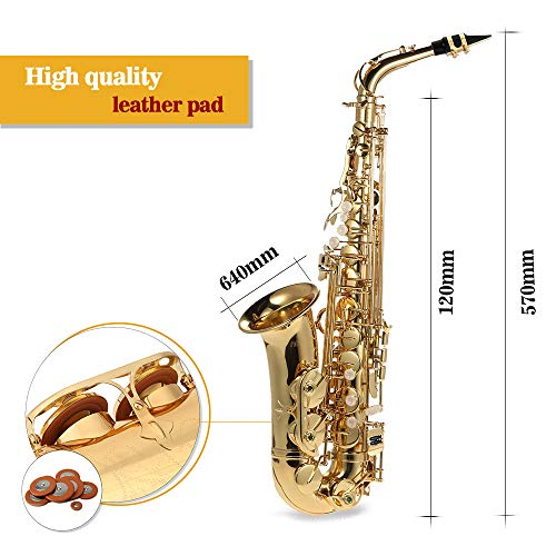 Ammoon Be Alto Saxofon Laton Lacado Oro E Flat Sax 802 Clave Tipo De Viento De Madera Instrumento