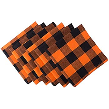 """DII Oversized 20x20"""" Cotton Napkin, Pack of 6, Orange & Black Buffalo Check Plaid - Perfect for Halloween, Dinner Parties, and Everyday Use"""