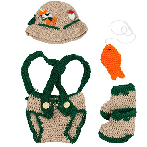 Jastore Baby Newborn Photography Prop Crochet Fisherman Costume Hat Diaper Shoes ()