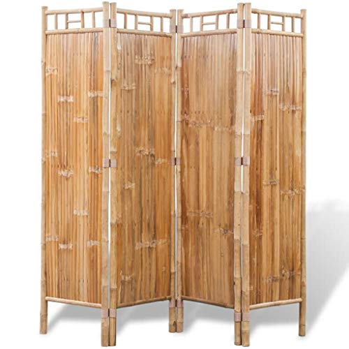 HELLOLAND Freestanding Bamboo Room Divider Folding Privacy Screens for Indoor & Outdoor Use (4-Panel)