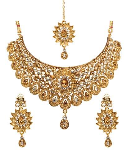 Bindhani Wedding Indian Kundan Gold Plated Bollywood Bridal Necklace Earrings Tikka Jewelry Set for Women