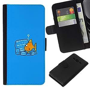 Samsung Galaxy A3 - Dibujo PU billetera de cuero Funda Case Caso de la piel de la bolsa protectora Para (Please Stand By)