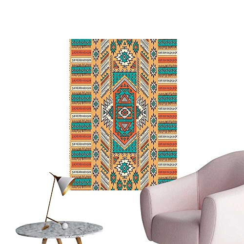 "Wall Decals Aztec Secret Tribe Pattern Native American Bohemian Style Apricot Orange and Teal Environmental Protection Vinyl,32""W x 56""L"