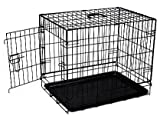 Aosom 24″ Pawhut Wire Folding Dog Cage Crate Kennel with Divider