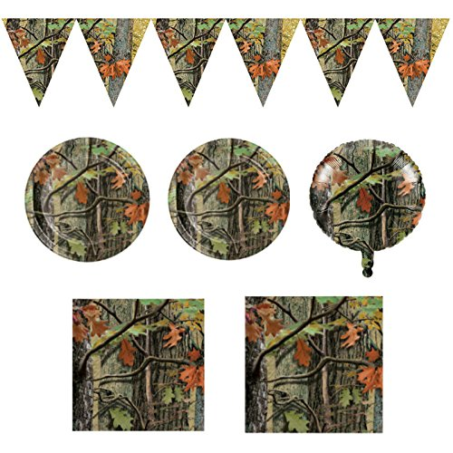 Hunting Camo Party Supplies Set for 16 Guests - Birthday Graduation Decorations Plates Napkins Cups