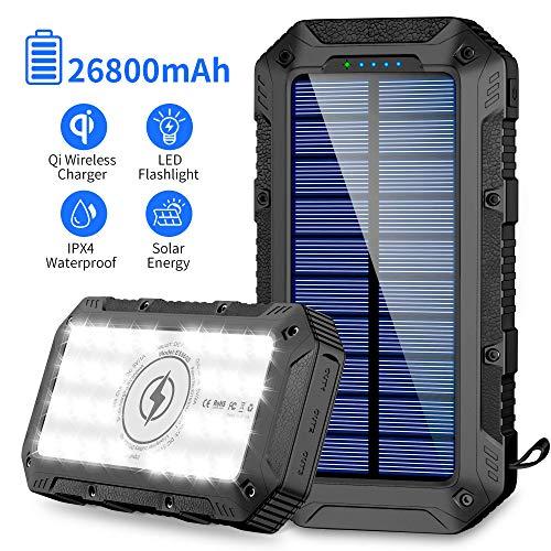 FKANT Power Bank Solar 26800mAh Batería Externa Solar con 4 Puertos 3 Salidas USB & QI Carga Inalámbrico Cargador Solar…