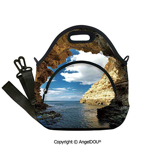 (AngelDOU Natural Cave Decorations waterproof neoprene lunch bags Magical Morning Sunbeam on Sacred Golden Religious Pavilion in Dark Den Zen Scenery for Office School Travel Picn12.6x12.6x6.3(inch) )