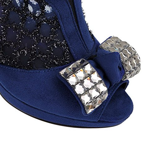 AgooLar Women's Peep Toe High Heels Frosted Solid Buckle Sandals Blue dWFb09pN1