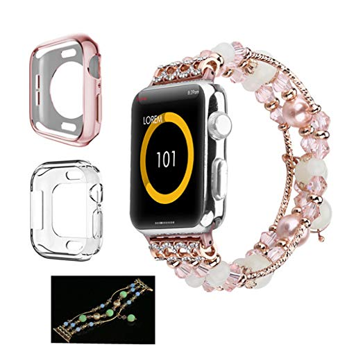 (KCPer Replacement for Apple Watch 1/2/3/ Watch Band, Women Girl Fashion Beaded Night Luminous Pearl Bracelet Band Strap Elastic Adjustable 42MM)