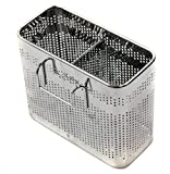 Cook Mate Kitchen Utensils Chopsticks Holder Stainless Steel Perforated Drying Rack Basket with Hooks 2 Divided Compartments Large