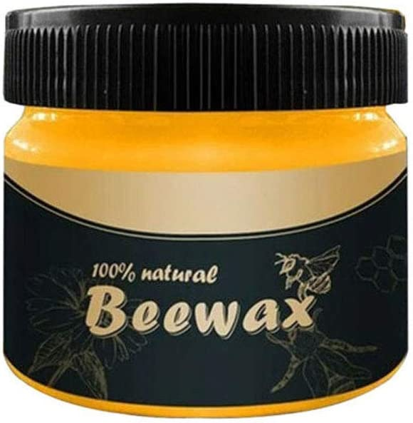Wood Seasoning Beewax, Multipurpose Natural Unscented Beeswax Wood Polish for Furniture, Floor, Tables, Chairs, Cabinets (1 Pack)