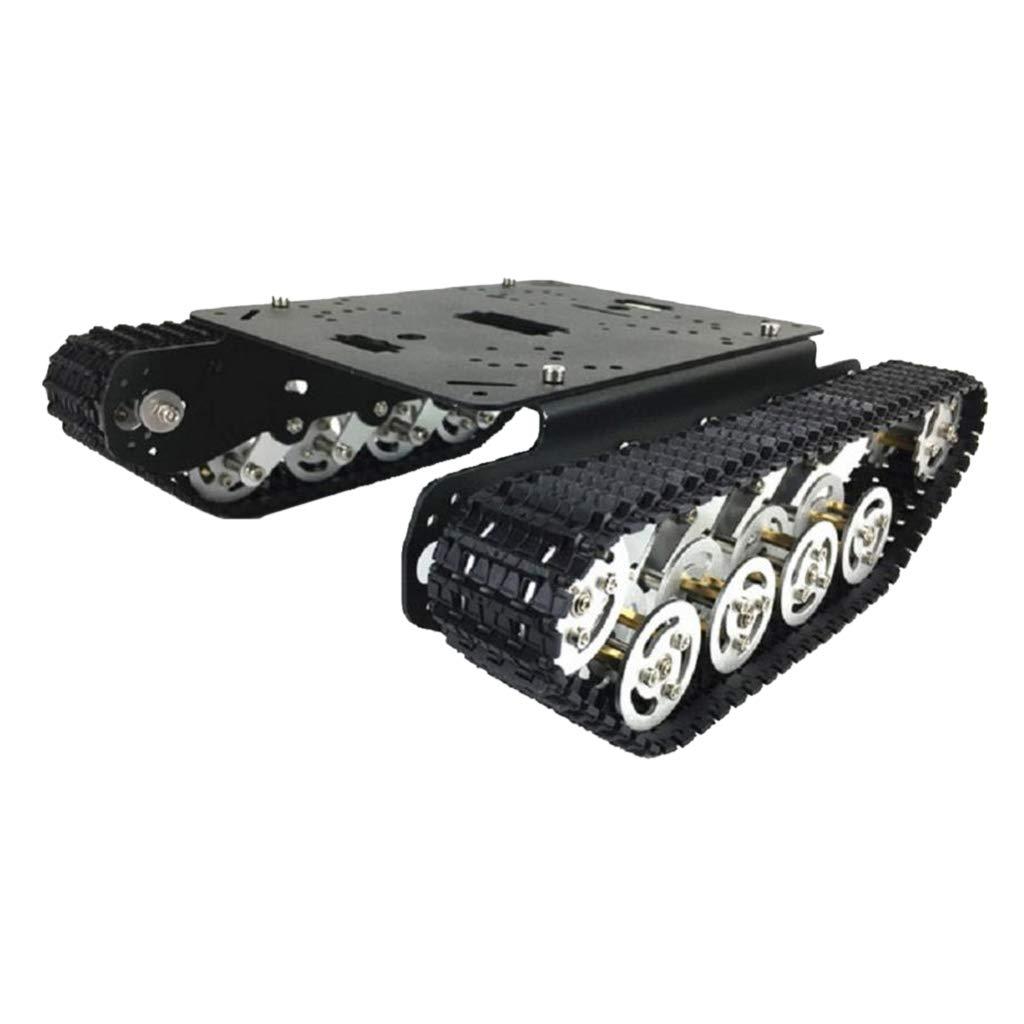 KESOTO クローラ ロボット車シャーシDIYキット RCカー トラッキング スマートタンクシャーシ アルミ合金 - ブラック B07KQ8HV4W ブラック