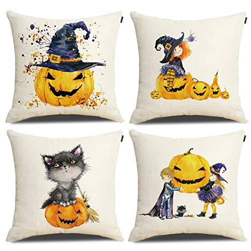 RUOAR Happy Halloween Pillow Covers Set of 4 Festival Atmosphere Decorative Pillowcases 18 x 18 in]()