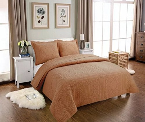 Diamond Patchwork - 3-Piece Comforter Set Embroidered Cotton Diamond Floral Agnle Bedspread Patchwork Quilt Sets King Brown