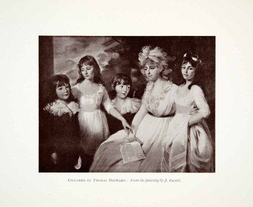 Russell Girl Costume (1907 Print Children Thomas Milward John Russell Girls Costume Fashion Dresses - Original Halftone Print)