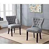 DAGONHIL Fabric Dining/Accent Chairs (set of 2) with Brown Solid Wooden Legs,Nailed Trim (Gray) Review