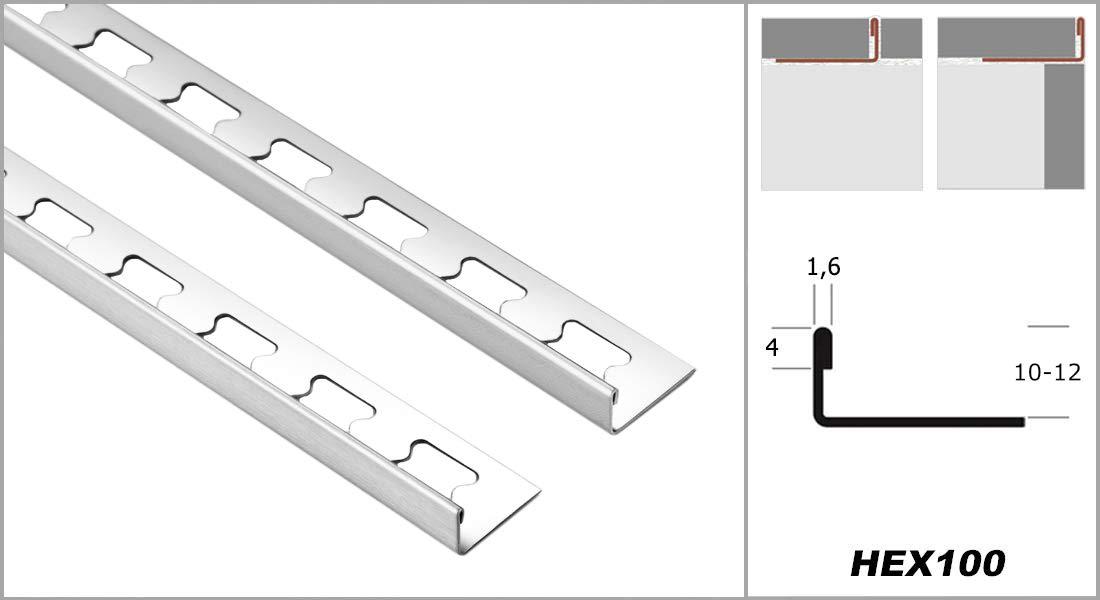 HEX100 SI HEXIM 12mm Fliesenschiene L-Form 2 Meter Edelstahl