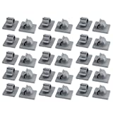 uxcell 30Pcs TS-0910 Self Adhesive Adjustable Cable Tie Sticker Clip Diameter 10mm Gray