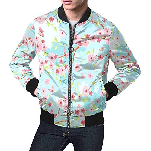 (INTERESTPRINT Men's Blue Sky with Branches Blossom of Cherry Zip Up Baseball Jacket Long Sleeves Short Blazer Outfit)