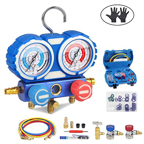 Manifold Gauge Hose - JDMON AC Diagnostic Manifold Gauge Set for Freon Charging, Fits R134A R404A R407C and R22 Refrigerant, with 5FT Hose, Acme Tank Adapter, Adjustable Couplers, Can Tap, Thermometer, Spanner and O Rings