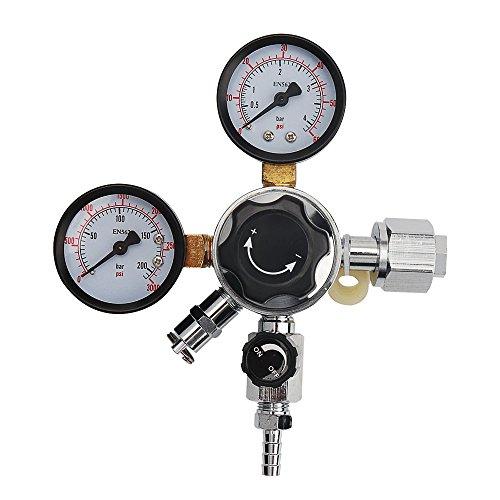 (OneBom CO2 Regulator, Keg Beer Regulator CGA -320 Inlet, with Pressure Relief Valve for Gas 0-3000PSI (Dual Gauge))