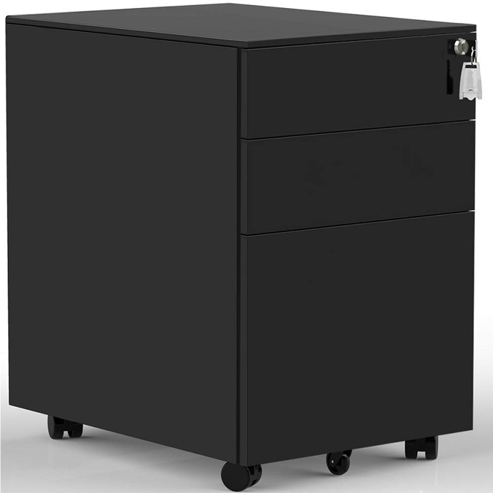 3 Drawers Mobile File Cabinet with Lock, Under Desk File Cabinet with Wheels, Fully Assembled (Black) by ModernLuxe