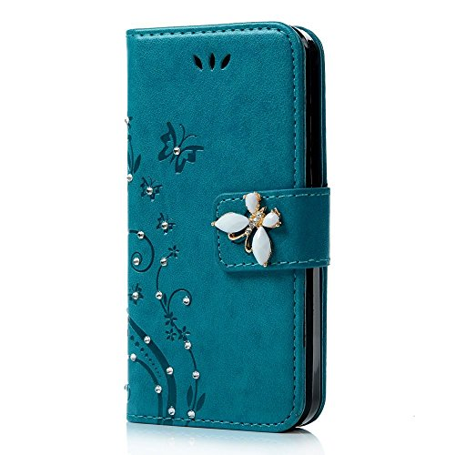 Spritech(TM) LG G Stylo Cellphone Bling Case,PU Leather Wallet Slim Fold Phone Cover 3D Handmade Bling Rhinestone Floral Design with Card Slot,Green