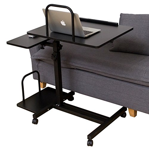 SDADI Adjustable Laptop Table Sofa Table Overbed Table with Wheels for Both Hospital and Home