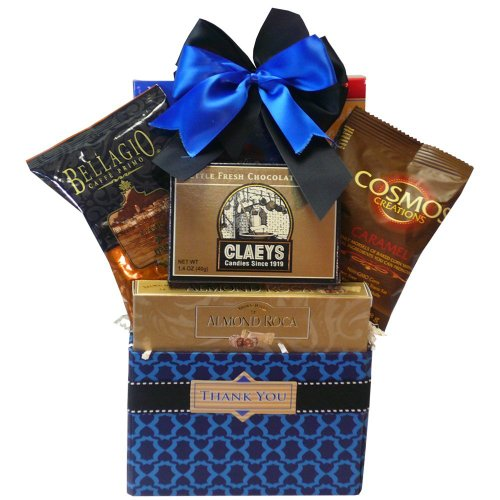 (Thank You Desk Caddy Coffee and Treats Gift Basket (Candy Option))