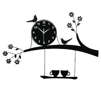 L Y y Creativa Personalidad Salón Reloj de Pared Mode Jardín Reloj de Cuarzo IKEA Mute Casa pájaro Reloj, Ein, 20 Pulgadas (50,8 cm): Amazon.es: Deportes y ...
