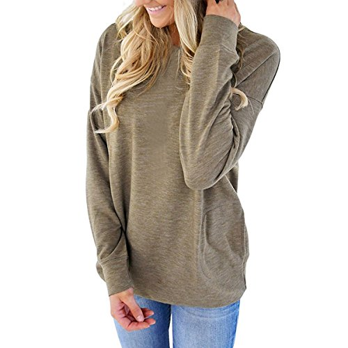 PORALA Loose Sweaters Long Sleeve Tunic Tops Blouses For Women Soft Casual Sweatshirts T-Shirts With Pockets,Green,Medium
