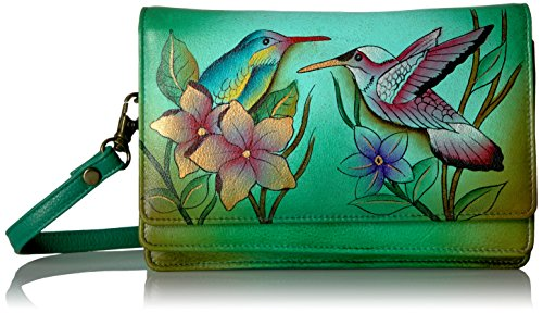Organizer Flap (Anna by Anuschka Handpainted Flap Organizer Crossbody, Birds in Paradise Green, Bip-G-Birds in Paradise Green)